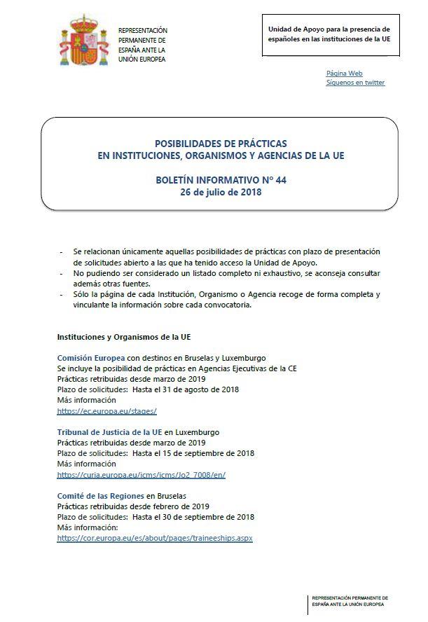 Boletín de prácticas en las Instituciones, Organismos y Agencias de la Unión Europea